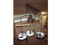 3 Ikia desk or shop display lamps with on off switch and LED bulbs
