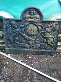 Castiron fireback. Lion and unicorn, coat of arms, Charles 11. Dated 1664