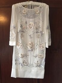Monsoon white hand embroidered chiffon shift dress size 12/14