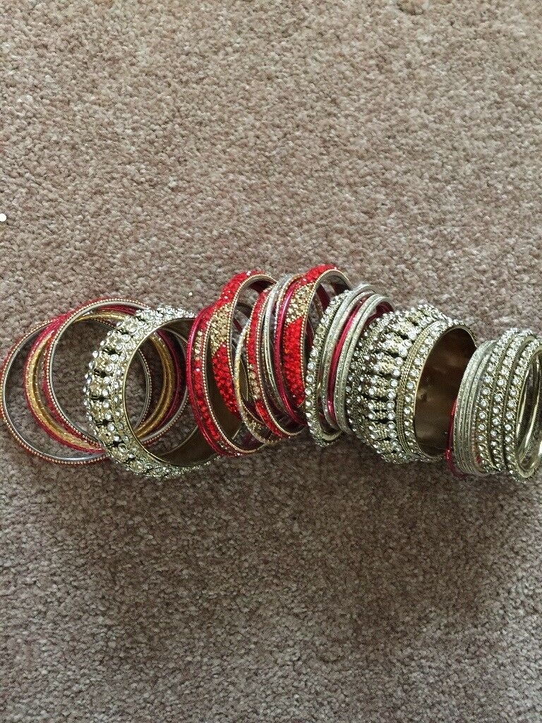 Red and gold Asian wedding bangles