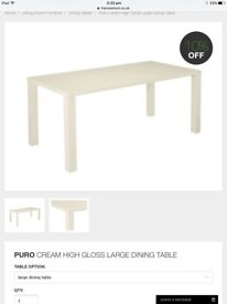 Cream gloss dining table (new)