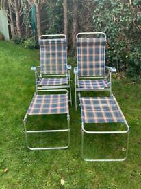 Motorhome caravan outside chairs with foot stalls