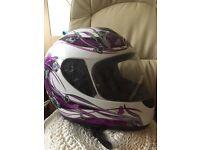 Motorbike helmet ladies pink and white
