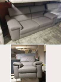 Grey leather 3 seater & chair