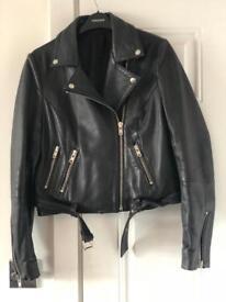 TOPSHOP leather biker jacket- excellent condition- size10
