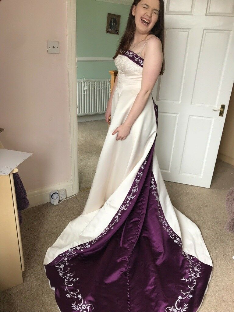 Stunning purple and ivory wedding dress size 12/14. | in Horsforth ...