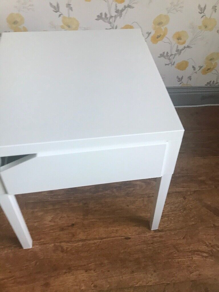 Picture of: White Ikea Bedside Table With Drawer Metal In Falkirk Gumtree