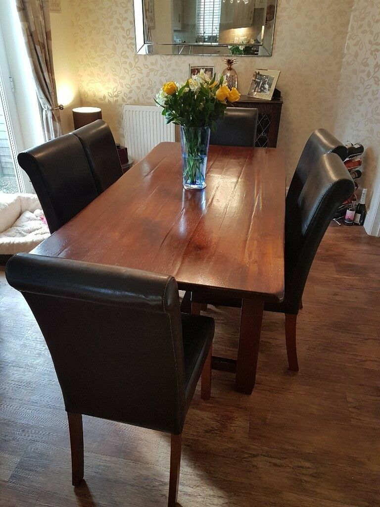 John Lewis Arabika Dining Room Table And 6 Leather Chairs