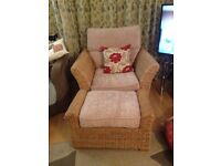 Five piece Conservatory Suite Settee 2 Chairs 2 glass top tables and poufee. Champagne cushions.