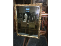 Pretty Vintage Heavy Ornate Gilt Carved Framed Rectangular Mirror