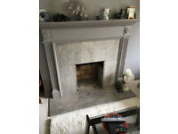 Wood and Marble Fireplace INCLUDING open gas coal-effect fire