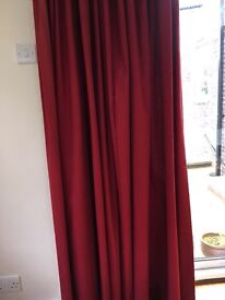 Designer fabric, deep red, full-length curtains - vgc