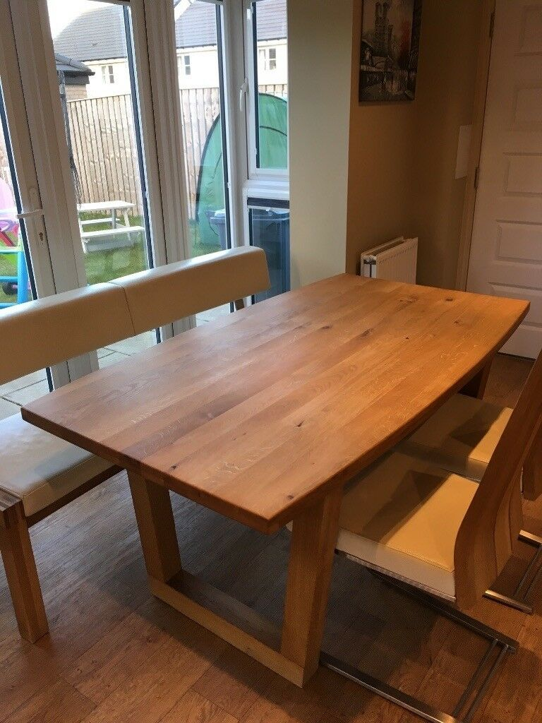 Venjakob German Designer Solid Oak Dining Table Bench 4 Chairs Very Good Condition