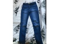 Women blue skinny high waisted jeans size 12