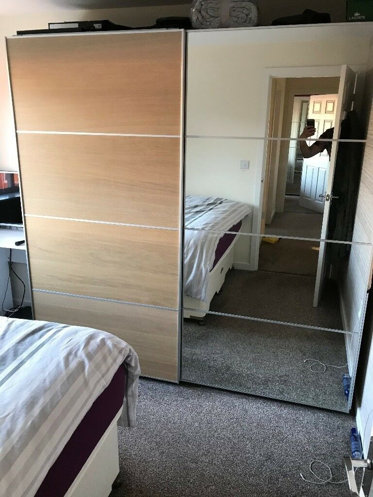 Ikea Pax Sliding Double Wardrobe With Half Mirror and Half oak | in  Coventry, West Midlands | Gumtree