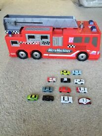 Vintage micro machines fire engine play set truck with cars