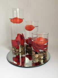 3Pcs Vases Floating Water Candles Decorations Flowers Pebbles Mirror-Base
