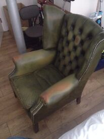 Green Chesterfield Wingback Armchair