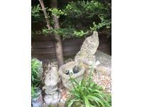 Vintage Stone/Concrete Gnome Planter/Pot & Friend