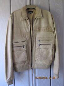 CK Jeans Leather Bomber Jacket