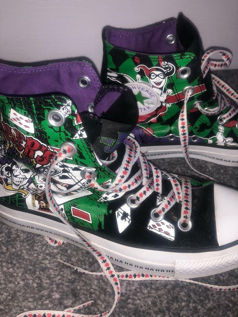 76014622573f Limited Edition Women Harley Quinn and Joker Converse Shoes in UK size 4