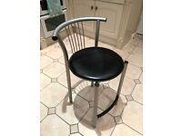 Calligaris black leather stool