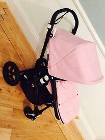 Bugaboo Cameleon 3 black frame with soft pink fabrics. Exc condition. Lenka Sahara set and extras
