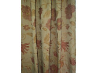 """Heavy Brocade long Lined Curtains Floral Red & Gold 132"""" x 72"""" high Quality"""
