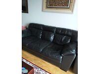 3 Seater Black Leather Sofa Urgent Sale
