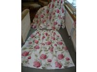 Laura Ashley Hydrangea curtains 102 ins wide each curtain by 48 ins long VGC