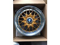Genuine gold BBS bmw 17'' alloys RC042 2227548 8.5 RC041 2227647 7.5 is41 face mounted split rims