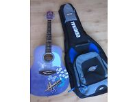 Lovely Washburn Hanna montana acoustic guitar with padded gig bag