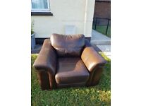 *** free ***chocoloate brown leather chair