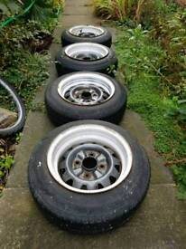 """***DEEP DISH Weller Wheels*** 13"""" banded steelies, for lowered car.PCD: 4x114.3 jap fitment"""