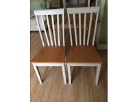 Pine dining table and pair of chairs as new