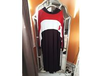Dark brown/red/white abaya/jilaba/long dress with hood. Jersey material. Loose fit. Size 10-16. £24!
