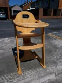 Solid wood highchair
