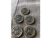 5 x new £1 coins mint error date 2016