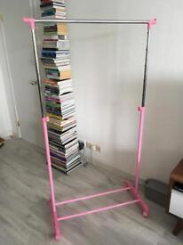 Argos adjustable clothes rail pink
