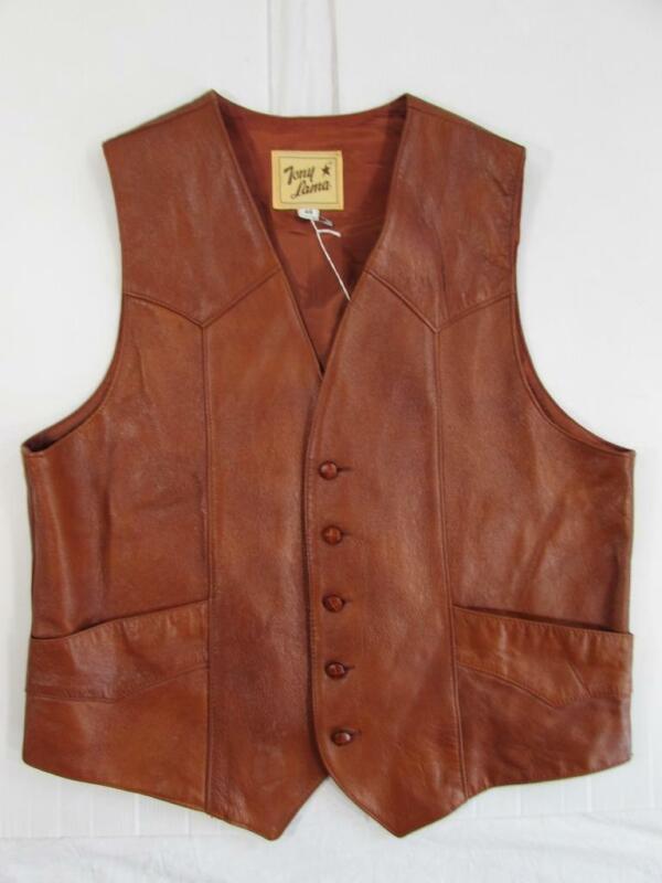 "Vtg 1970s Tony Lama Western Style Leather Cowboy Vest 42"" Chest Men"