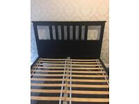 Black wooden double bed frame