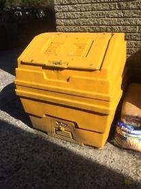 Two new yellow salt bins coal eyc