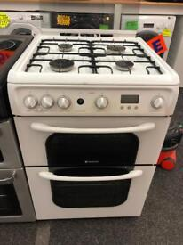 HOTPOINT 60CM ALL GAS COOKEE IN WHITE WIHT LID