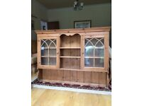 Attractive pitch pine glazed dresser top, includes two cupboards and three open shelves