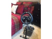 Logitech G920 gaming wheel pedals stand