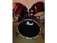 Pearl export series drum kit for sale, metallic red , good condition