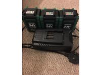 3x24V qualcast batteries and charger like new