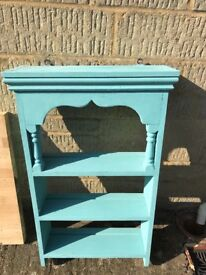 Annie Sloan turquoise chalk painted shelving unit