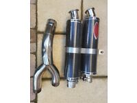 Motorbike twin carbon fibre exhaust system