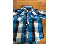 Boys short sleeved checked shirt